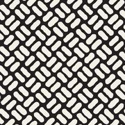 Vector Seamless Black And White Hand Drawn Diagonal Pavement Pattern Stock Illustration