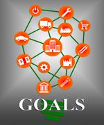 Goals Icons Shows Aspirations Targeting And Aspire Stock Illustration