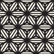 Vector Seamless Black And White Cube Lines Grid Pattern - stock illustration