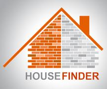 House Finder Shows Finders Home And Found Stock Illustration
