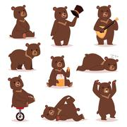 Cartoon bear vector set - stock illustration