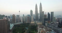 Aerial shot of the Kuala Lumpur skyline and the petronas tower Stock Footage
