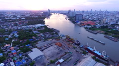 Aerial view of bhumipol bridge crossing chaopraya river bangkok thailand Stock Footage