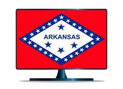Arkansas Flag TV Stock Illustration