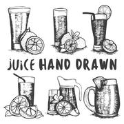 Vector set of hand drawn fruit juice glass sketch. Cocktails and alcohol drinks - stock illustration