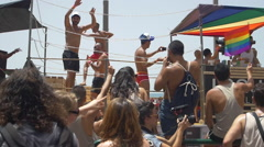 3 JUN 2016: the celebrate the annual gay pride parade in Tel Aviv Stock Footage