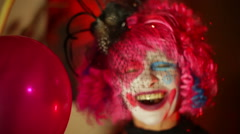Clown woman laughing laugh clowning Stock Footage
