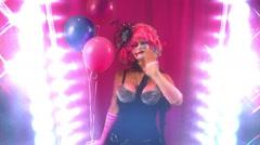 Clown woman waving wave pink Stock Footage