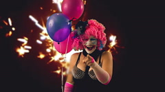 Laughing clown laugh at clown horror Stock Footage