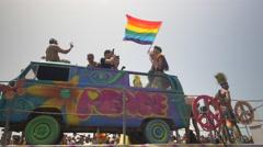 3 JUN 2016: the celebrate the annual gay pride parade in Tel Aviv Stock Footage