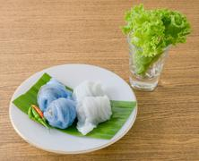 Thai Traditional Dessert, Steamed Rice Skin Dumplings Made From Glutinous Ric Stock Photos