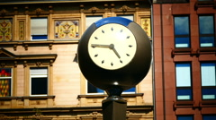 Clock Frankfurter Börse Börsen Platz Stock Exchange square Frankfurt am Main Stock Footage