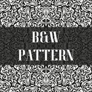 Seamless flower pattern in black and white style. Vector illustration Stock Illustration