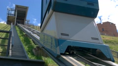 Funicular rapidly moves up. Stock Footage