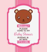 Kawaii bear. Baby Shower design. Vector graphic Stock Illustration
