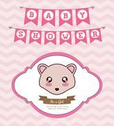Kawaii hedgehog. Baby Shower design. Vector graphic Stock Illustration