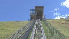 Rails lead up the hill. Stock Footage