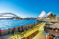 People dining at outdoor restaurants in Circular Quay in Sydney, Australia Stock Photos