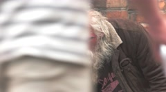 Homeless man in the street. Stock Footage