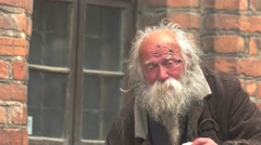 Old homeless man. Stock Footage