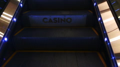 Casino moving staircase escalator Stock Footage