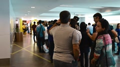 Long security line in KLIA2 airport Stock Footage
