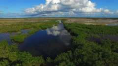 Everglades state park, aerial view at sunset Stock Footage