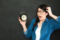 Time never wait for people who always oversleep Stock Photos