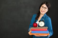 she always study hard and back to school on time - stock photo
