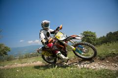 Young Man Riding Motocross Bike in Italian Countryside Stock Photos