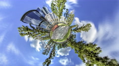 Little Tiny Planet 360 Degree Avenue Taras Shevchenko Prospectus in Kiev Stock Footage