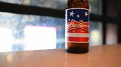 NEW YORK CITY -  Bottle of Budweiser. From Anheuser-Busch InBev, Stock Footage