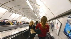 LONDON – Subway station escalator. Underground is the most Stock Footage