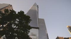 NEW YORK CITY – Overview of the 9/11 memorial site at the World Trade Stock Footage