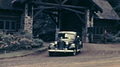 Canada 1938: car leaving Montebello Chateaux Stock Footage