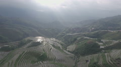 Aerial drone flight over beautiful rice paddies in China Stock Footage