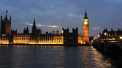 Westminster Palace at night - stock footage