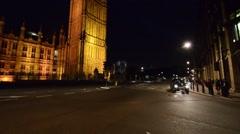 LONDON –  Westminster Bridge night traffic. Traffic is a major Stock Footage