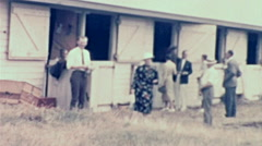 Canada 1938: rich people visiting horse stables Stock Footage