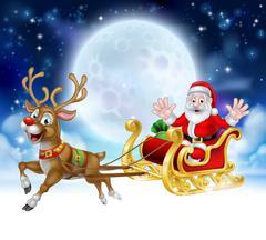 Cartoon Santa Reindeer Sleigh Christmas Scene Piirros