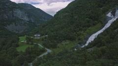 Beautiful aerial view on Hjellenfossen waterfall, Utladalen, Ardal, Norway Stock Footage