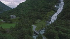 Beautiful aerial view on Hjellenfossen waterfall, Utladalen, Ardal, Norway Stock Footage