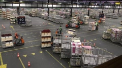 Staff travels with carts full of flowers at Aalsmeer FloraHolland Auction Market - stock footage