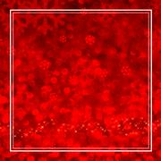 Snowflake red bokeh light with white frame in square composition,Mock up for  - stock photo