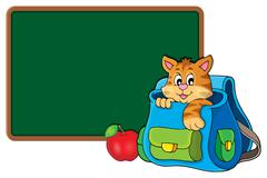Cat in schoolbag theme image - eps10 vector illustration. Stock Illustration