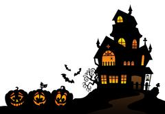 Haunted house silhouette theme image - eps10 vector illustration. Piirros
