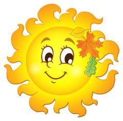 Happy autumn sun theme image - eps10 vector illustration. Stock Illustration