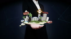 Businesswoman open palm, Holiday of hotel icon, casino, swimming, city. travel. Stock Footage