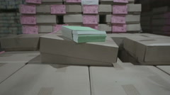 Paper production. Finished products. Notebook. Paper recycling. Stock Footage
