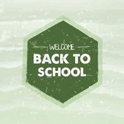 welcome back to school in frame over green background - stock illustration